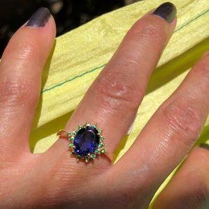 Jewelry - 14K Yellow Gold Iolite & Tsavorite Ring